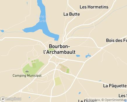 Localisation EHPAD du Centre Hospitalier de Bourbon L'Archambault - 03160 - Bourbon-l'Archambault