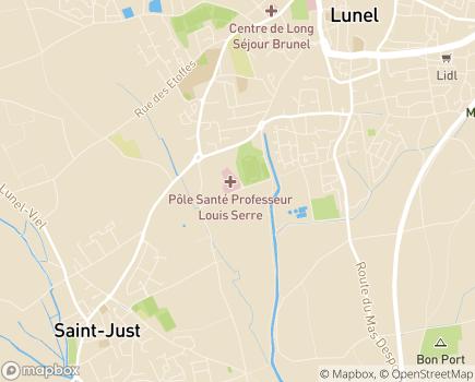 Localisation Clinique Via Domitia, Pôle de Santé Professeur Louis Serre - 34400 - Lunel