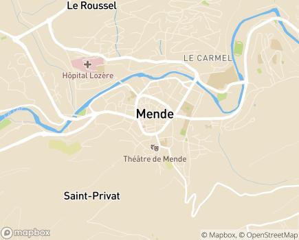 Localisation Conseil Départemental de la Lozère - 48001 - Mende