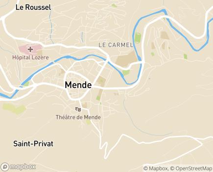Localisation ARS Agence Régionale de Santé - Délégation Départementale de la Lozère - 48005 - Mende
