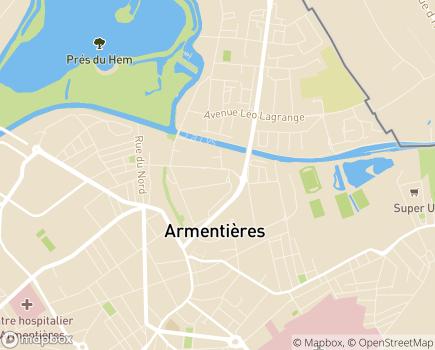 Localisation Caisse d'Allocations Familiales - 59428 - Armentières