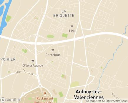 Localisation EHPAD Harmonie et EHPA Heures Claires du Comité des Ages du Pays Trithois - 59300 - Aulnoy-lez-Valenciennes