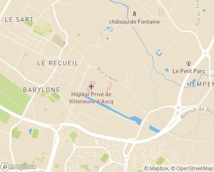 Localisation Clinique Les Peupliers - 59491 - Villeneuve-d'Ascq