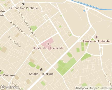 Localisation Hôpital Lucien Bonnafé Pôles 59g12, 59g13, 59g14, 59g15 - 59100 - Roubaix