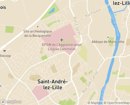 Localisation Hôpital Lommelet Pôles 59g11, 59g22, 59g23, 59g24 - 59350 - Saint-André-lez-Lille