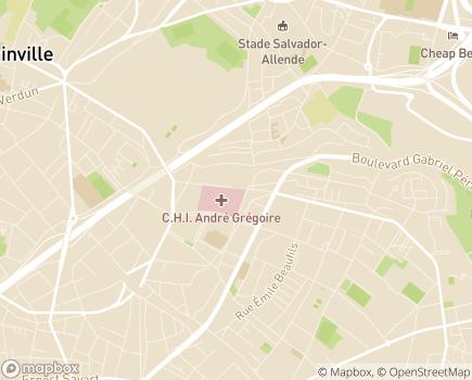 Localisation Centre Hospitalier Intercommunal André Grégoire - 93100 - Montreuil