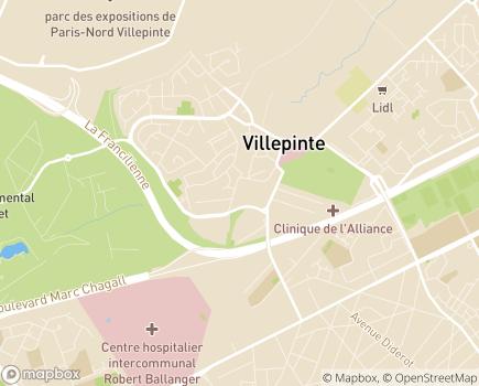 Localisation APFA  Association des Pays de France et de l'Aulnoye - 93420 - Villepinte