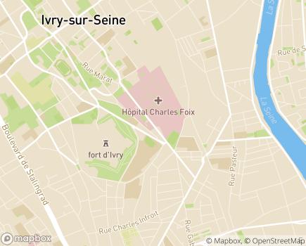 Localisation Hôpital Charles-Foix (Hôpitaux Universitaires La Pitié Salpêtrière - Charles Foix) (AP-HP) - 94200 - Ivry-sur-Seine