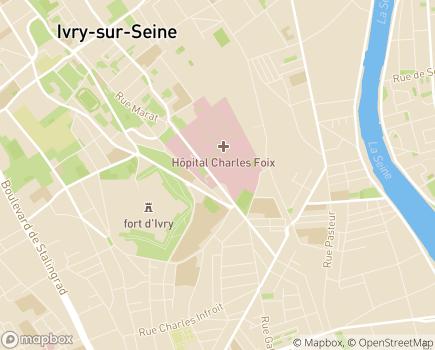 Localisation Etablissement de Gériatrie - Hôpital Charles-Foix - 94200 - Ivry-sur-Seine