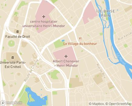Localisation Hôpital Albert Chenevier - rattaché au Groupe Hospitalier Hôpitaux Universitaires Henri Mondor - 94010 - Créteil